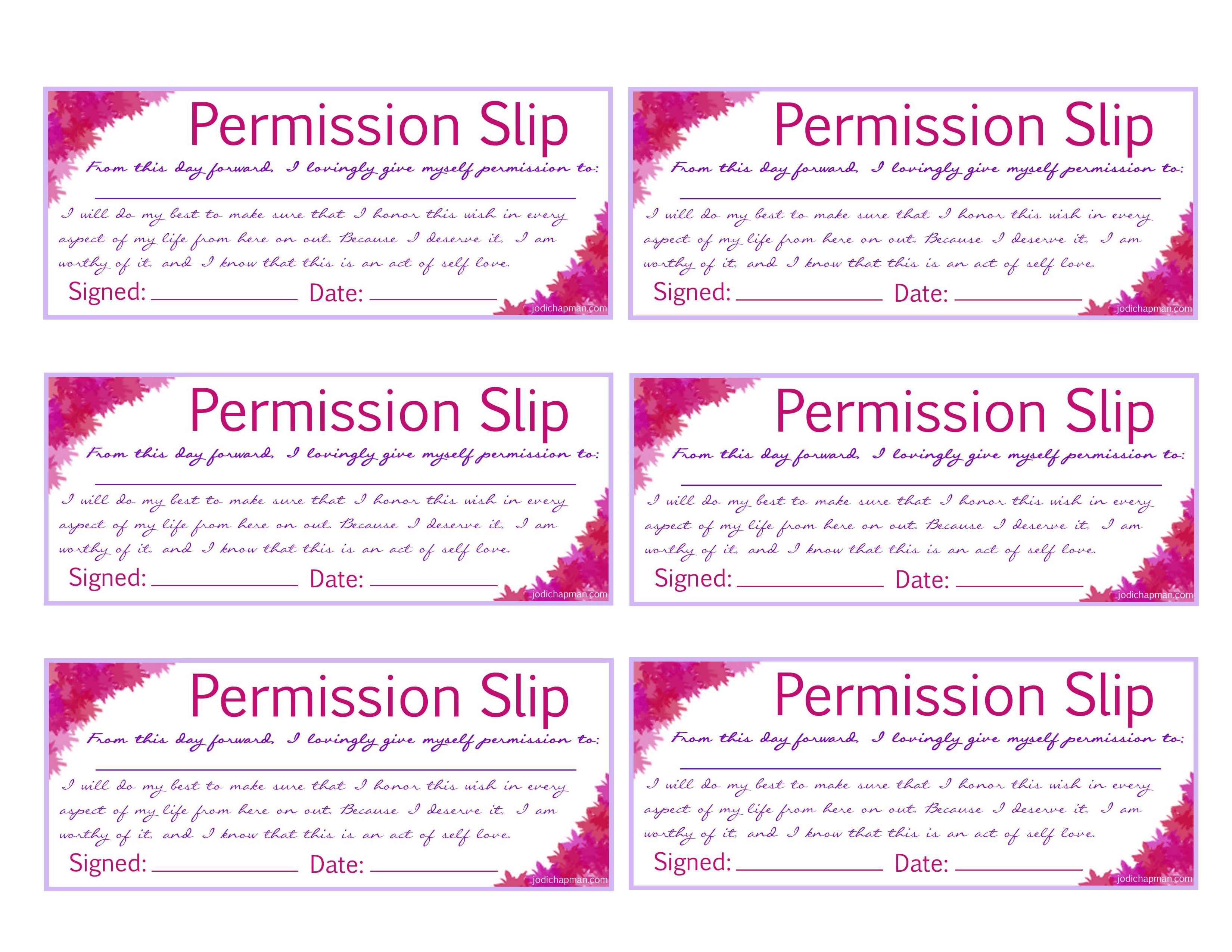 Your Permission Slip Free Print Out